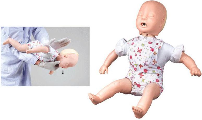高级婴儿气道阻塞及CPR模型-该产品可进行婴儿海氏急救法操作。模拟人根据婴儿解剖特征和生理特点设计,适用于气管异物的急救。